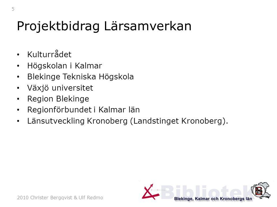 2010 Christer Bergqvist & Ulf Redmo 5 Projektbidrag Lärsamverkan Kulturrådet Högskolan i Kalmar Blekinge Tekniska Högskola Växjö universitet Region Blekinge Regionförbundet i Kalmar län Länsutveckling Kronoberg (Landstinget Kronoberg).