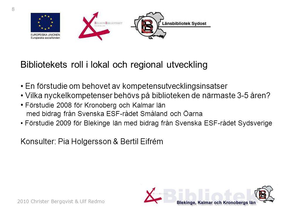 2010 Christer Bergqvist & Ulf Redmo 9 Slutsatser Bibliotekets roll… del 1 Påverkansfaktorer folkbiblioteken: teknikutvecklingen, ekonomin/resurstilldelningen och förmågan att ta till sig det nya & bättre marknadsföring För universitetsbiblioteken även förmågan till integrering i universitetet, den tredje uppgiftens krav och organisationsförändringar inom högskolan i sydost