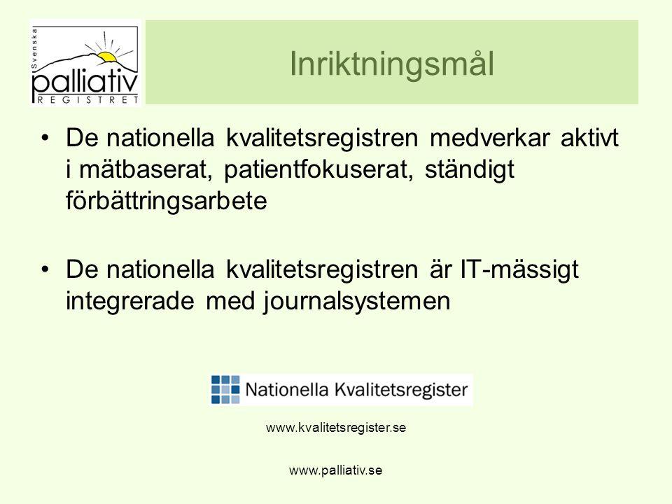 www.palliativ.se Inriktningsmål De nationella kvalitetsregistren medverkar aktivt i mätbaserat, patientfokuserat, ständigt förbättringsarbete De natio