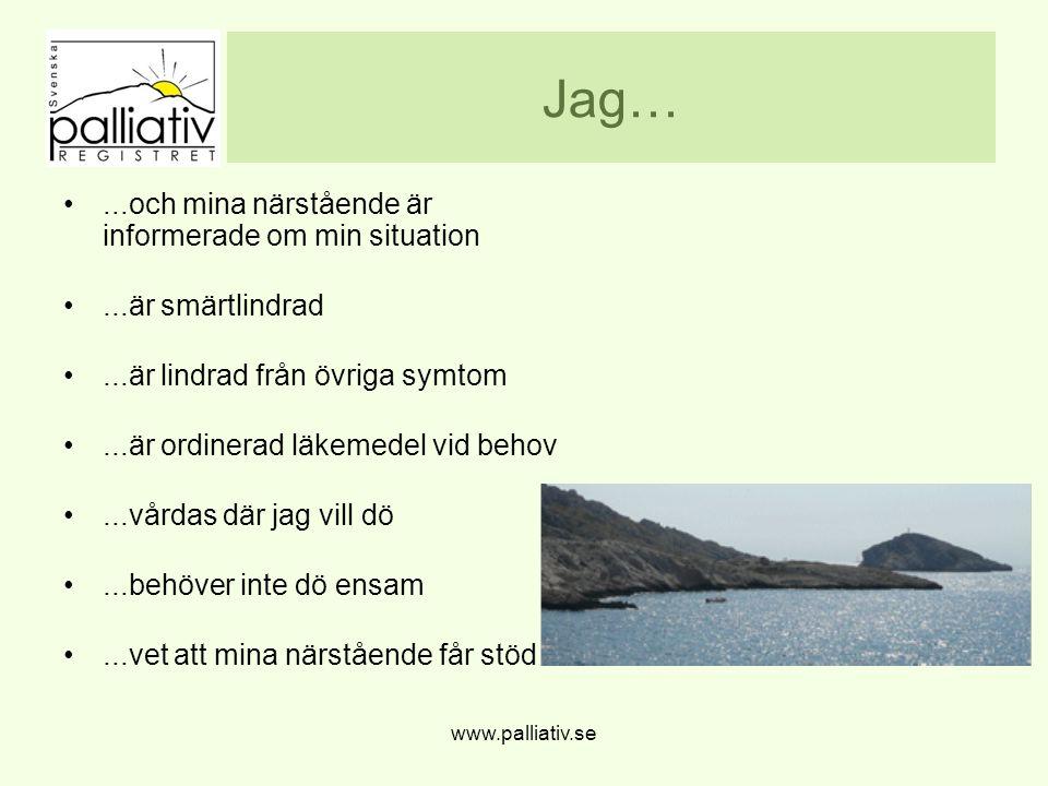 www.palliativ.se Jag…...och mina närstående är informerade om min situation...är smärtlindrad...är lindrad från övriga symtom...är ordinerad läkemedel