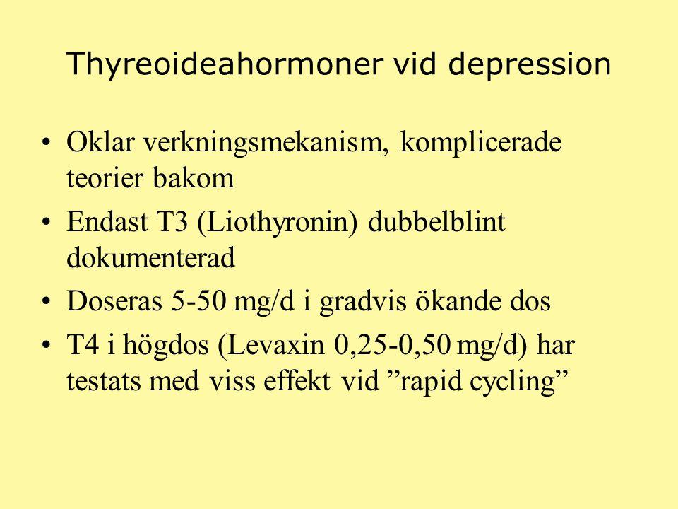 Thyreoideahormoner vid depression Oklar verkningsmekanism, komplicerade teorier bakom Endast T3 (Liothyronin) dubbelblint dokumenterad Doseras 5-50 mg/d i gradvis ökande dos T4 i högdos (Levaxin 0,25-0,50 mg/d) har testats med viss effekt vid rapid cycling