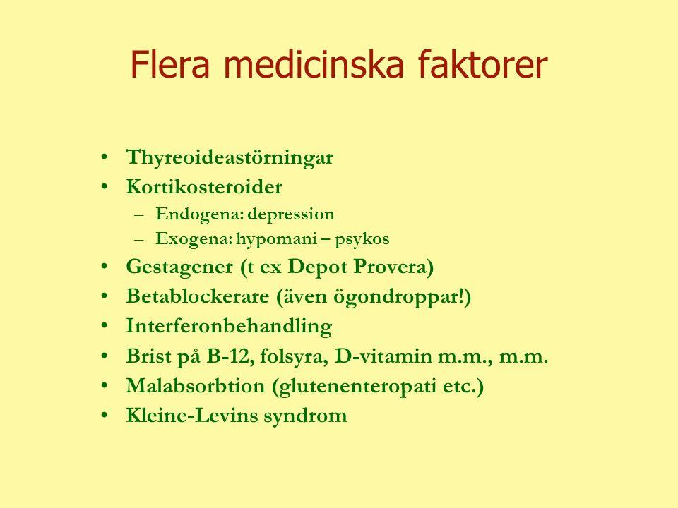 Flera medicinska faktorer Thyreoideastörningar Kortikosteroider –Endogena: depression –Exogena: hypomani – psykos Gestagener (t ex Depot Provera) Betablockerare (även ögondroppar!) Interferonbehandling Brist på B-12, folsyra, D-vitamin m.m., m.m.