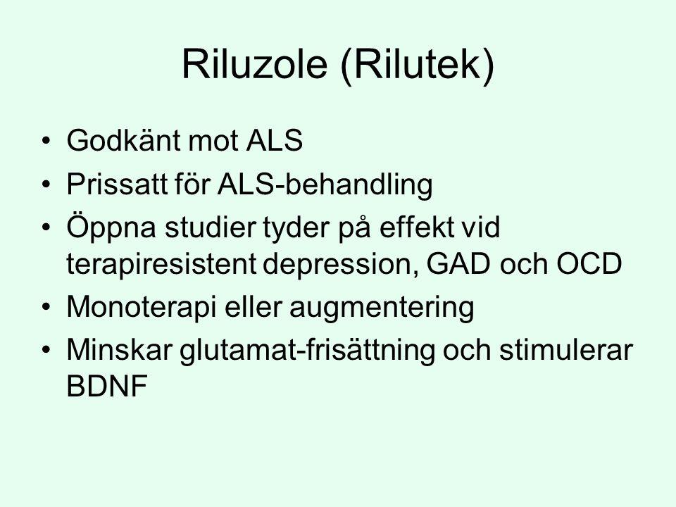Riluzole (Rilutek) Godkänt mot ALS Prissatt för ALS-behandling Öppna studier tyder på effekt vid terapiresistent depression, GAD och OCD Monoterapi eller augmentering Minskar glutamat-frisättning och stimulerar BDNF