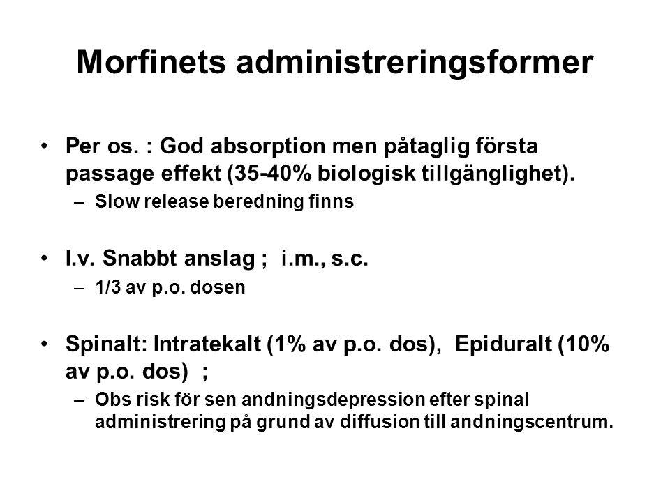 Morfinets administreringsformer Per os. : God absorption men påtaglig första passage effekt (35-40% biologisk tillgänglighet). –Slow release beredning