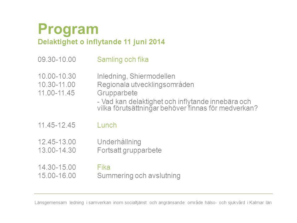 Länsgemensam ledning i samverkan inom socialtjänst och angränsande område hälso- och sjukvård i Kalmar län Program Delaktighet o inflytande 11 juni 20