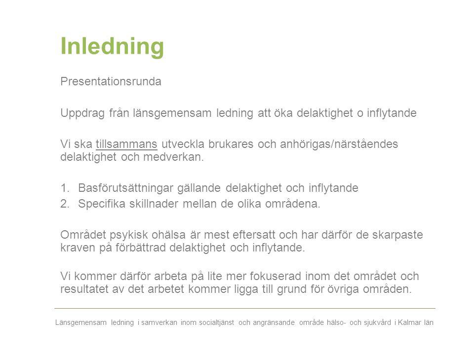 Länsgemensam ledning i samverkan inom socialtjänst och angränsande område hälso- och sjukvård i Kalmar län Inledning Presentationsrunda Uppdrag från l