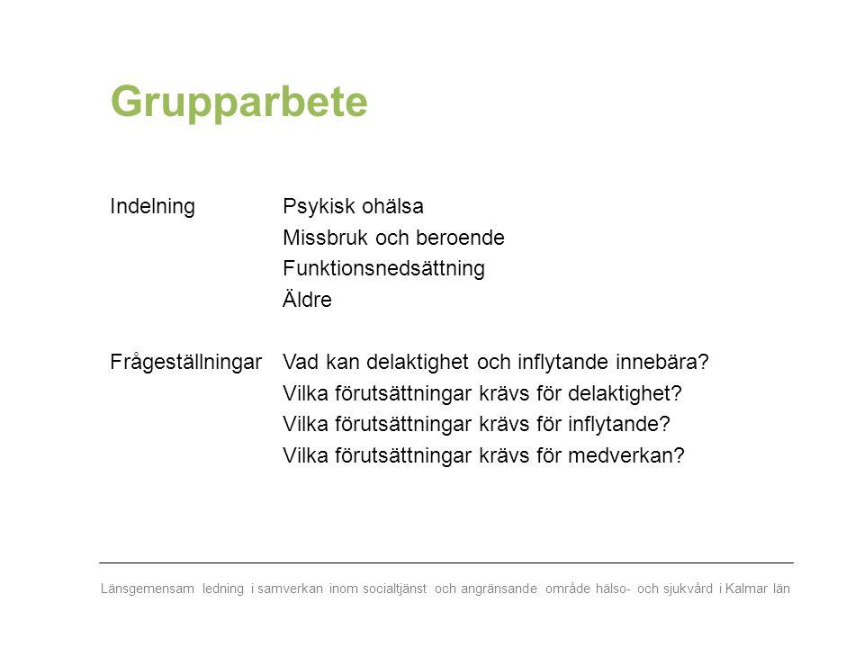 Länsgemensam ledning i samverkan inom socialtjänst och angränsande område hälso- och sjukvård i Kalmar län Grupparbete Indelning Psykisk ohälsa Missbr