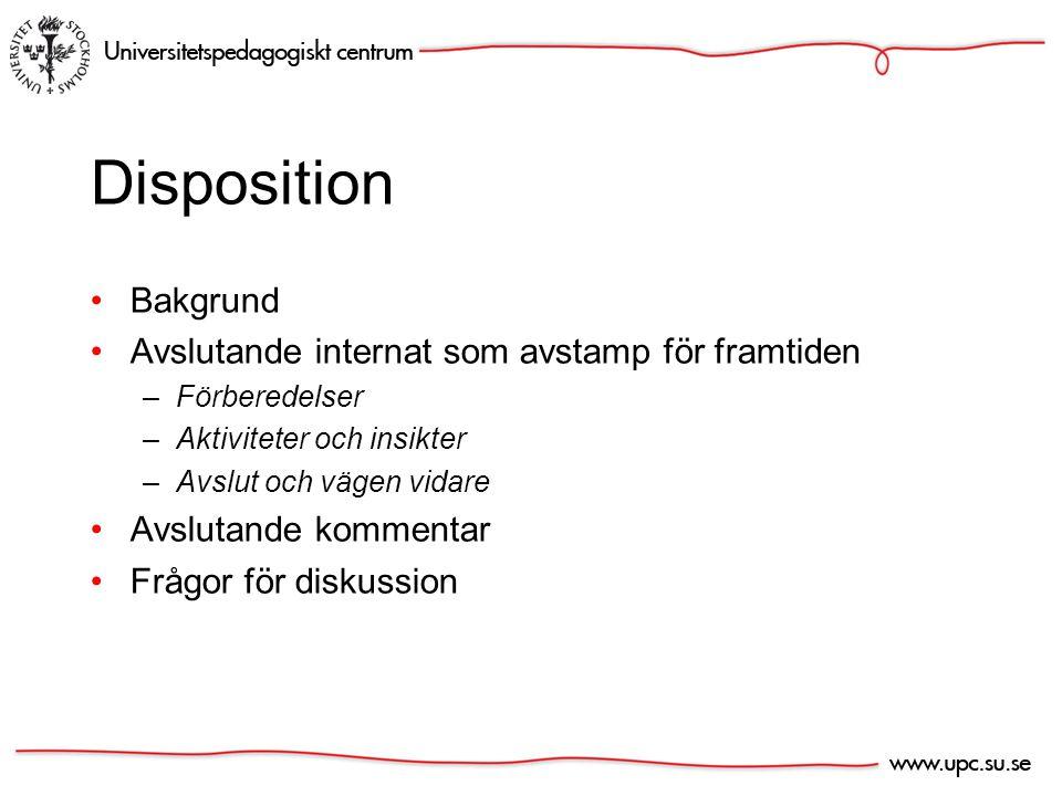 Disposition Bakgrund Avslutande internat som avstamp för framtiden –Förberedelser –Aktiviteter och insikter –Avslut och vägen vidare Avslutande kommentar Frågor för diskussion