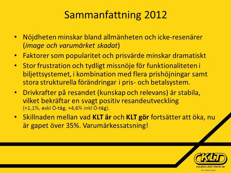 Christer Olson Sammanfattning 2012 Nöjdheten minskar bland allmänheten och icke-resenärer (image och varumärket skadat) Faktorer som popularitet och p