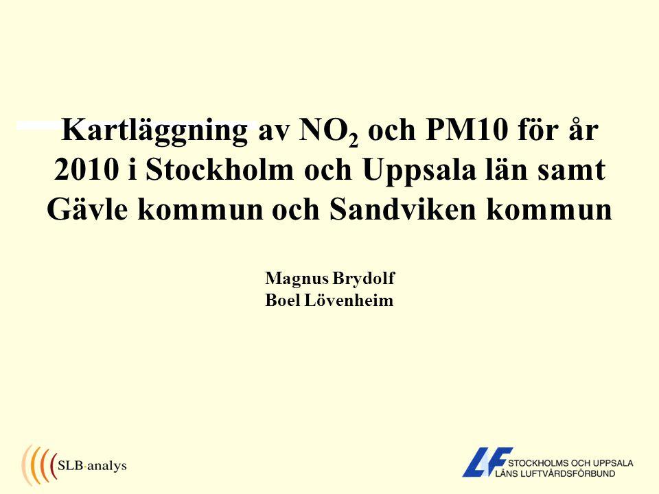 Beräknade NO 2 -halter AB län, C län samt Gävle och Sandviken år 2010