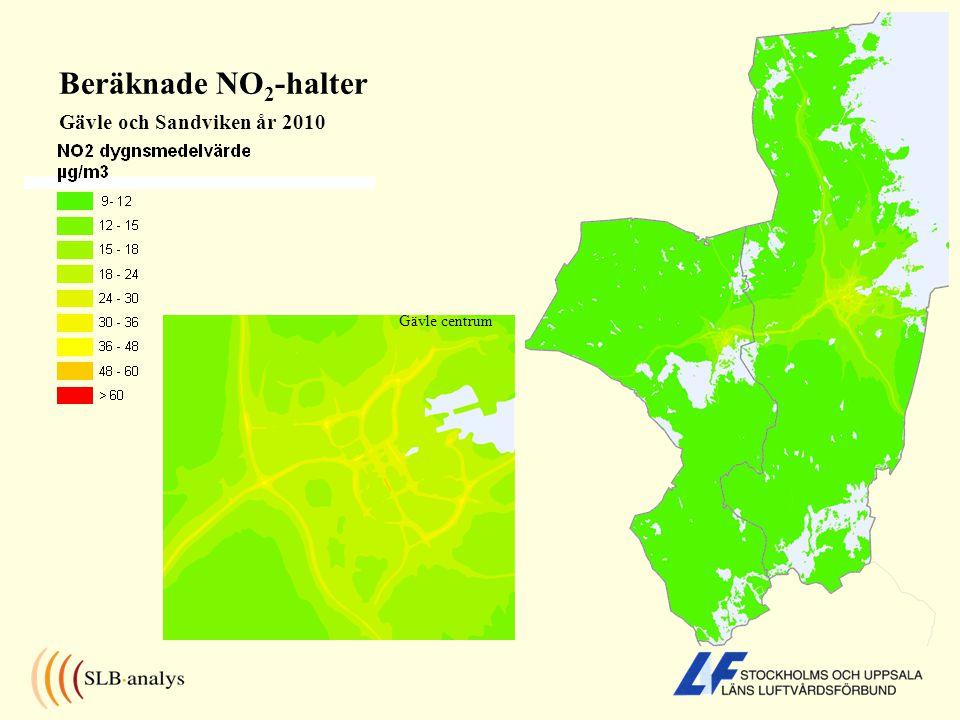 Beräknade NO 2 -halter Gävle och Sandviken år 2010 Gävle centrum