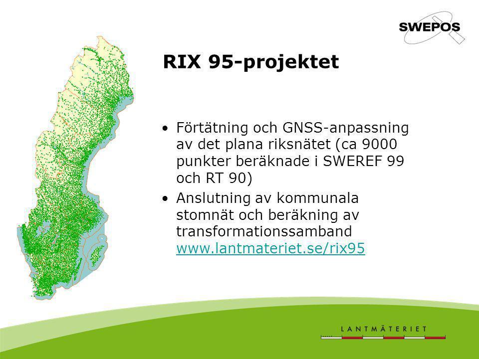RIX 95-projektet Förtätning och GNSS-anpassning av det plana riksnätet (ca 9000 punkter beräknade i SWEREF 99 och RT 90) Anslutning av kommunala stomn