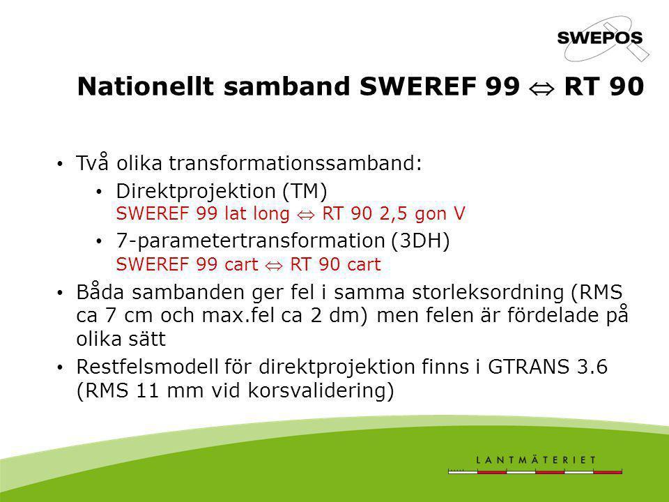 Nationellt samband SWEREF 99  RT 90 Två olika transformationssamband: Direktprojektion (TM) SWEREF 99 lat long  RT 90 2,5 gon V 7-parametertransform