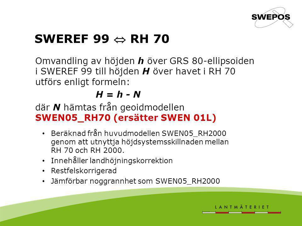 SWEREF 99  RH 70 Omvandling av höjden h över GRS 80-ellipsoiden i SWEREF 99 till höjden H över havet i RH 70 utförs enligt formeln: H = h - N där N h