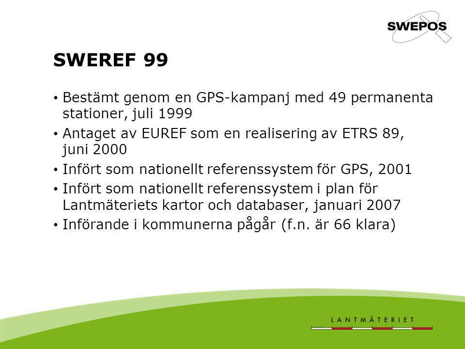 SWEREF 99 Bestämt genom en GPS-kampanj med 49 permanenta stationer, juli 1999 Antaget av EUREF som en realisering av ETRS 89, juni 2000 Infört som nat