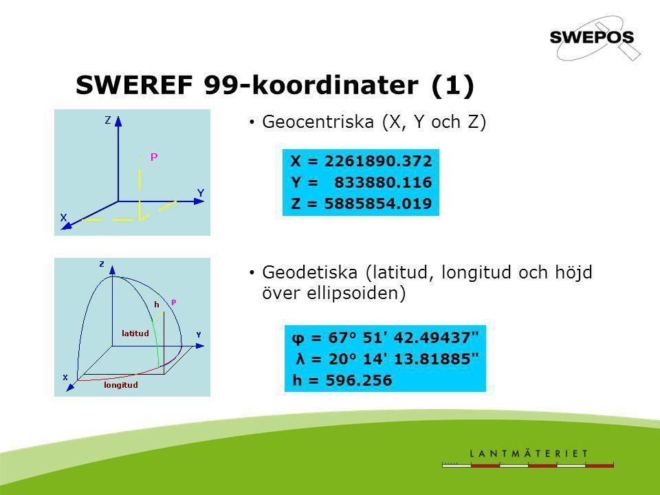 SWEREF 99-koordinater (1) Geocentriska (X, Y och Z) Geodetiska (latitud, longitud och höjd över ellipsoiden) X = 2261890.372 Y = 833880.116 Z = 588585