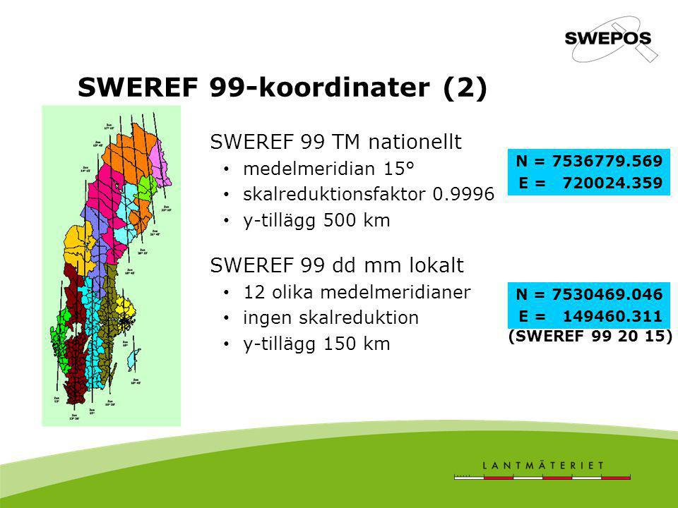 SWEREF 99-koordinater (2) SWEREF 99 TM nationellt medelmeridian 15° skalreduktionsfaktor 0.9996 y-tillägg 500 km SWEREF 99 dd mm lokalt 12 olika medel