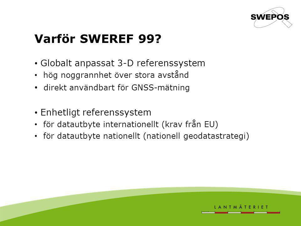 Nationellt samband SWEREF 99  RT 90 Två olika transformationssamband: Direktprojektion (TM) SWEREF 99 lat long  RT 90 2,5 gon V 7-parametertransformation (3DH) SWEREF 99 cart  RT 90 cart Båda sambanden ger fel i samma storleksordning (RMS ca 7 cm och max.fel ca 2 dm) men felen är fördelade på olika sätt Restfelsmodell för direktprojektion finns i GTRANS 3.6 (RMS 11 mm vid korsvalidering)