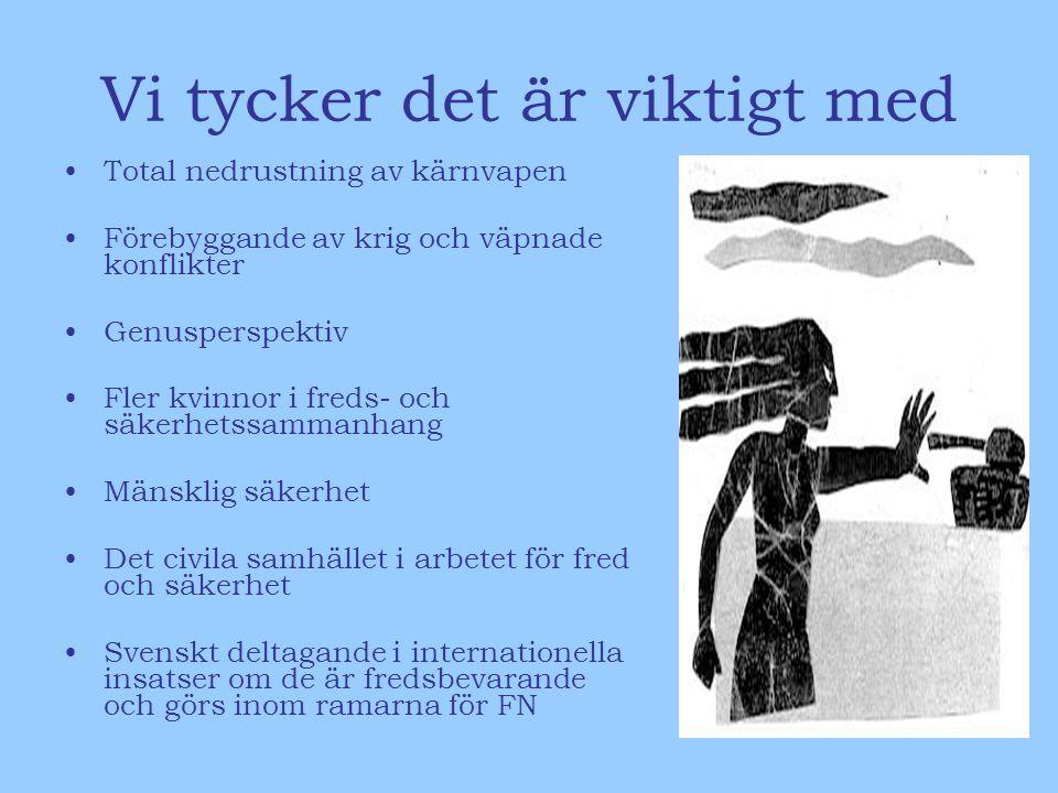 Vi tycker det är viktigt med Total nedrustning av kärnvapen Förebyggande av krig och väpnade konflikter Genusperspektiv Fler kvinnor i freds- och säkerhetssammanhang Mänsklig säkerhet Det civila samhället i arbetet för fred och säkerhet Svenskt deltagande i internationella insatser om de är fredsbevarande och görs inom ramarna för FN