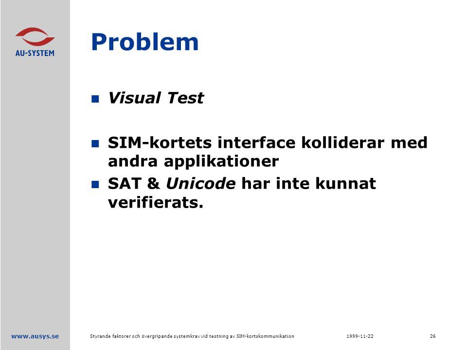 www.ausys.se 1999-11-22Styrande faktorer och övergripande systemkrav vid testning av SIM-kortskommunikation26 Problem Visual Test SIM-kortets interface kolliderar med andra applikationer SAT & Unicode har inte kunnat verifierats.