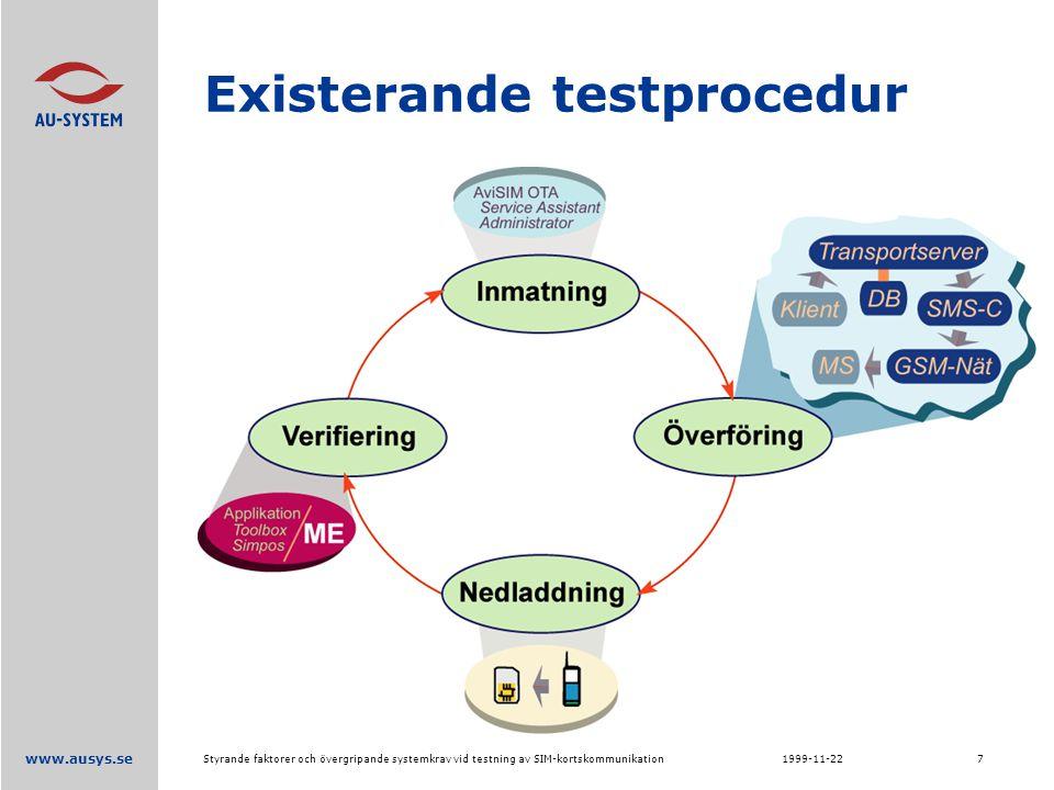 www.ausys.se 1999-11-22Styrande faktorer och övergripande systemkrav vid testning av SIM-kortskommunikation7 Existerande testprocedur