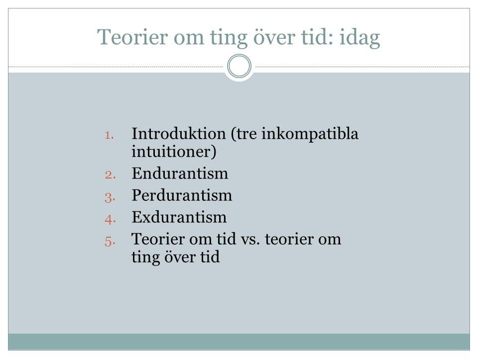 Teorier om ting över tid: idag 1.Introduktion (tre inkompatibla intuitioner) 2.