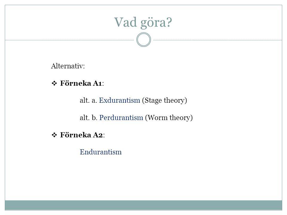 Förneka A2: Endurantism t1t2 Susanna (nu) Susanna (ikväll) Ting existerar över tid genom att vara wholly present (existera helt och fullt) vid varje tidpunkt för sin existens Ting är tredimensionella Ting är bokstavligt och strikt identiska vid olika tidpunkter.