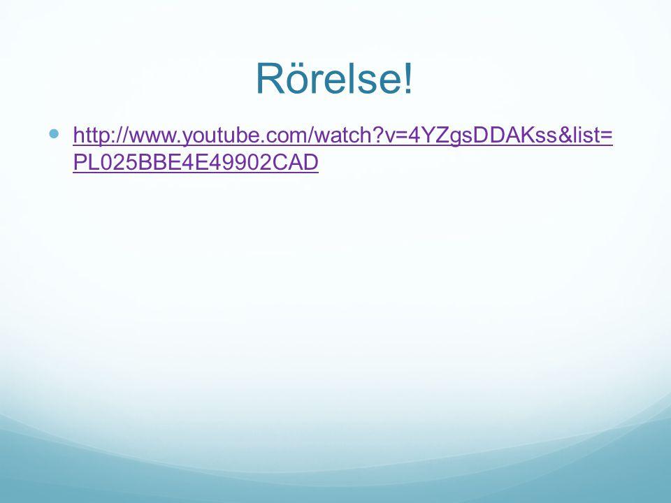 Rörelse! http://www.youtube.com/watch?v=4YZgsDDAKss&list= PL025BBE4E49902CAD http://www.youtube.com/watch?v=4YZgsDDAKss&list= PL025BBE4E49902CAD