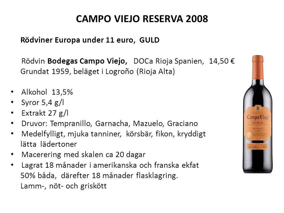 CAMPO VIEJO RESERVA 2008 Rödviner Europa under 11 euro, GULD Rödvin Bodegas Campo Viejo, DOCa Rioja Spanien, 14,50 € Grundat 1959, beläget i Logroño (Rioja Alta) Alkohol 13,5% Syror 5,4 g/l Extrakt 27 g/l Druvor: Tempranillo, Garnacha, Mazuelo, Graciano Medelfylligt, mjuka tanniner, körsbär, fikon, kryddigt lätta lädertoner Macerering med skalen ca 20 dagar Lagrat 18 månader i amerikanska och franska ekfat 50% båda, därefter 18 månader flasklagring.