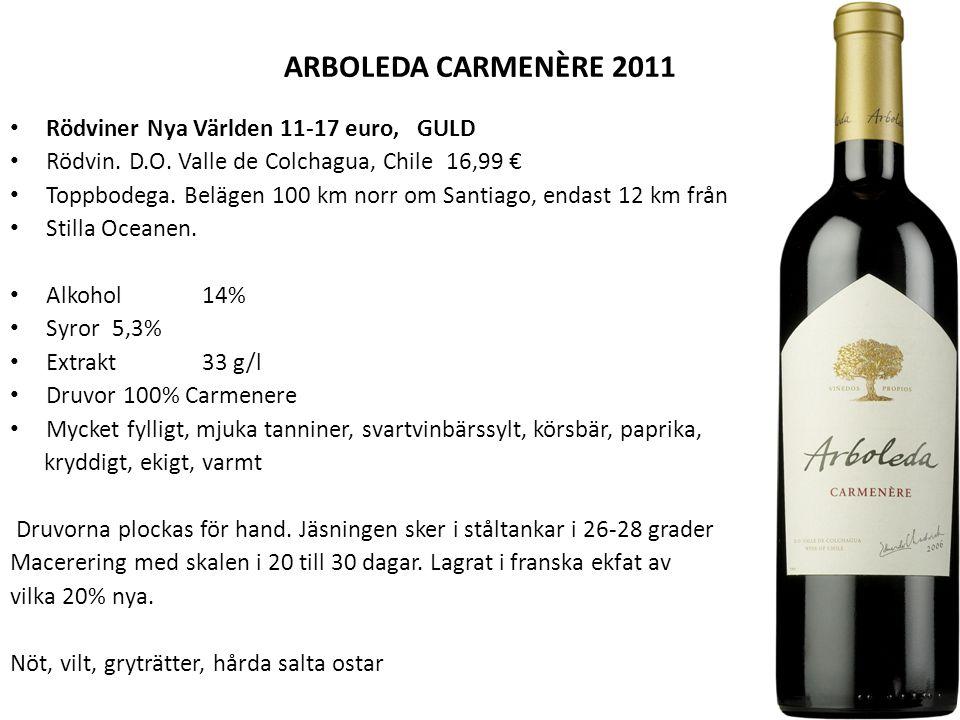 ARBOLEDA CARMENÈRE 2011 Rödviner Nya Världen 11-17 euro, GULD Rödvin.