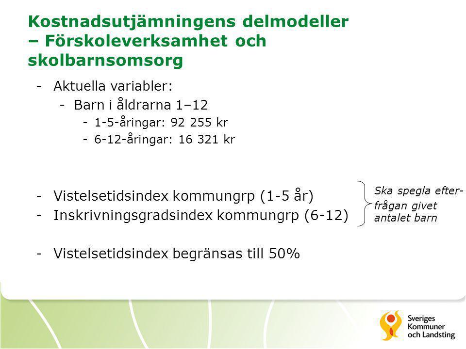 Kostnadsutjämningens delmodeller – Förskoleverksamhet och skolbarnsomsorg -Aktuella variabler: -Barn i åldrarna 1–12 -1-5-åringar: 92 255 kr -6-12-åri