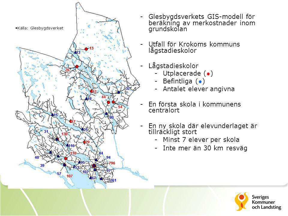 Källa: Glesbygdsverket -Glesbygdsverkets GIS-modell för beräkning av merkostnader inom grundskolan -Utfall för Krokoms kommuns lågstadieskolor -Lågsta