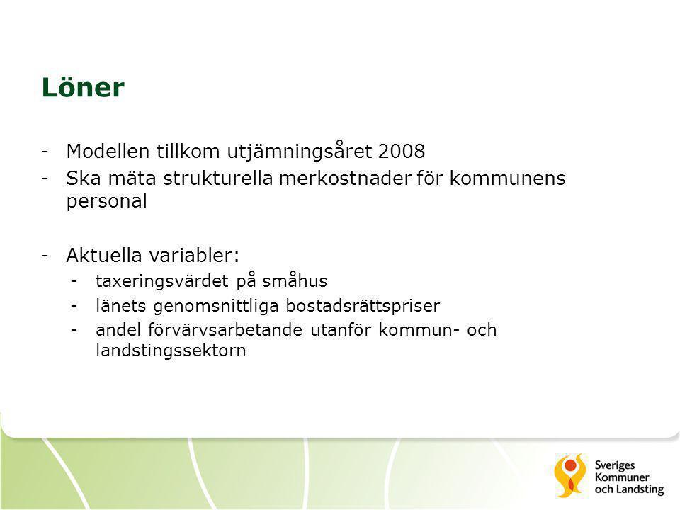 Löner -Modellen tillkom utjämningsåret 2008 -Ska mäta strukturella merkostnader för kommunens personal -Aktuella variabler: -taxeringsvärdet på småhus