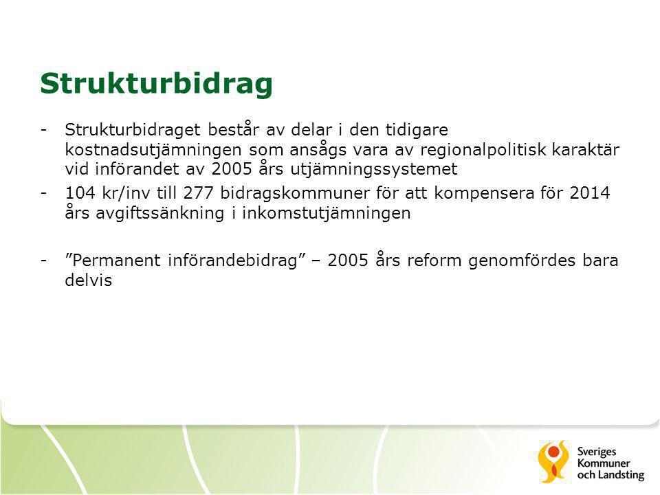 Strukturbidrag -Strukturbidraget består av delar i den tidigare kostnadsutjämningen som ansågs vara av regionalpolitisk karaktär vid införandet av 200