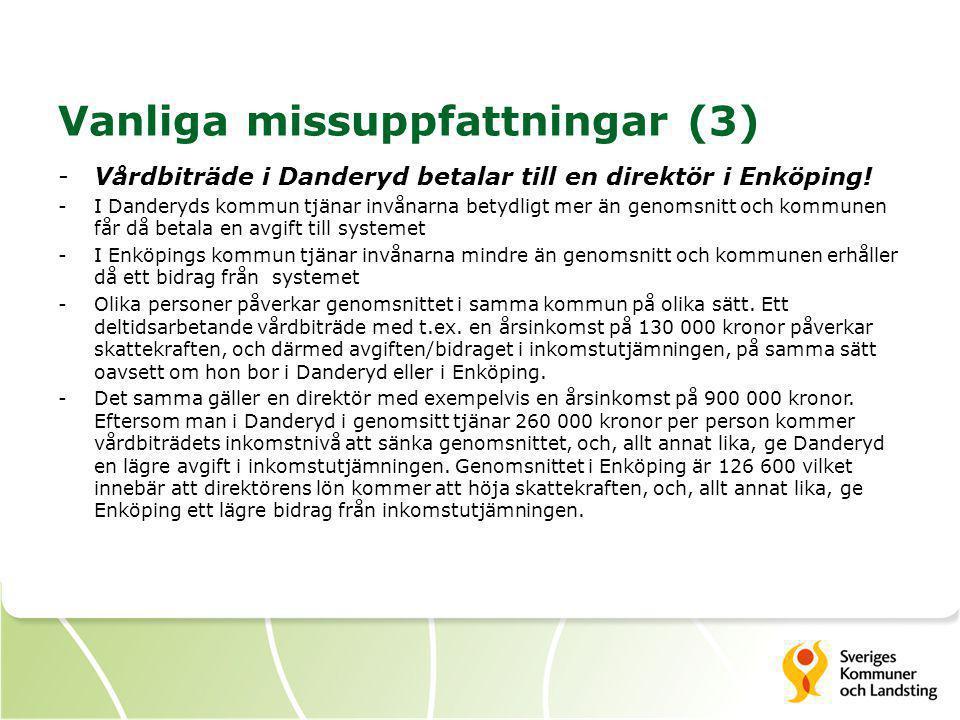 Vanliga missuppfattningar (3) -Vårdbiträde i Danderyd betalar till en direktör i Enköping! -I Danderyds kommun tjänar invånarna betydligt mer än genom