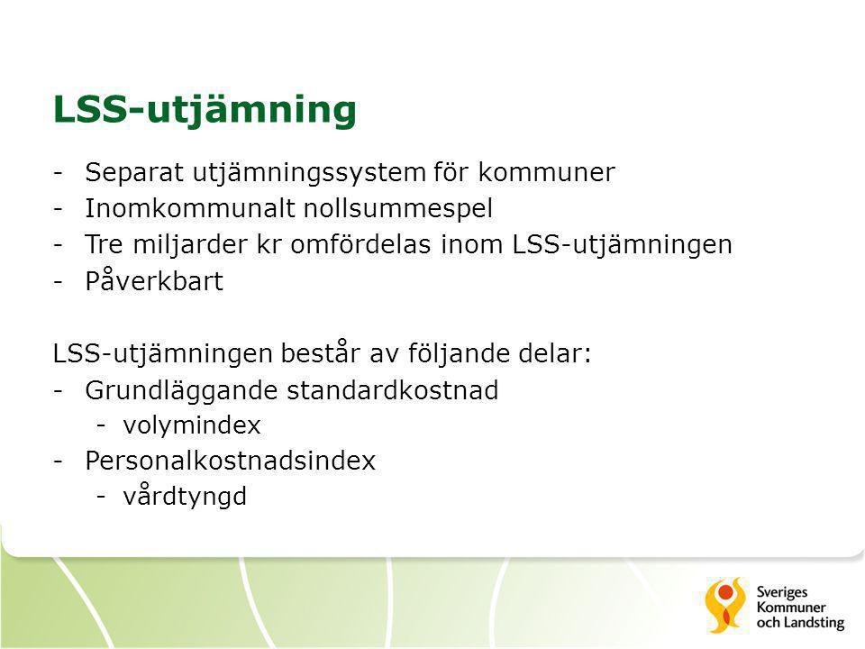 -Separat utjämningssystem för kommuner -Inomkommunalt nollsummespel -Tre miljarder kr omfördelas inom LSS-utjämningen -Påverkbart LSS-utjämningen best