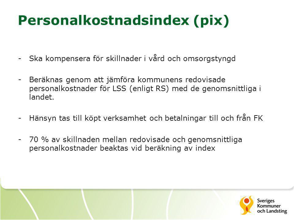 Personalkostnadsindex (pix) -Ska kompensera för skillnader i vård och omsorgstyngd -Beräknas genom att jämföra kommunens redovisade personalkostnader