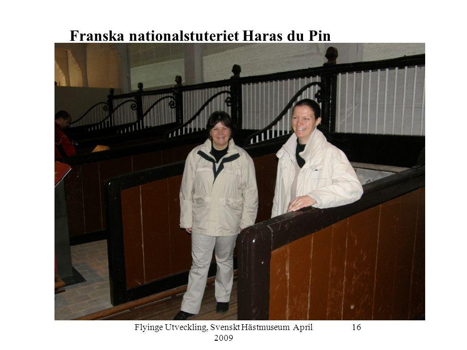 Flyinge Utveckling, Svenskt Hästmuseum April 2009 17 Franska nationalstuteriet Haras du Pin