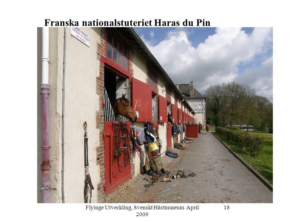 Flyinge Utveckling, Svenskt Hästmuseum April 2009 19 Franska nationalstuteriet Haras du Pin