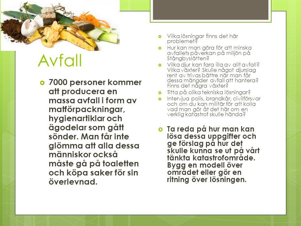Avfall  7000 personer kommer att producera en massa avfall i form av matförpackningar, hygienartiklar och ägodelar som gått sönder.