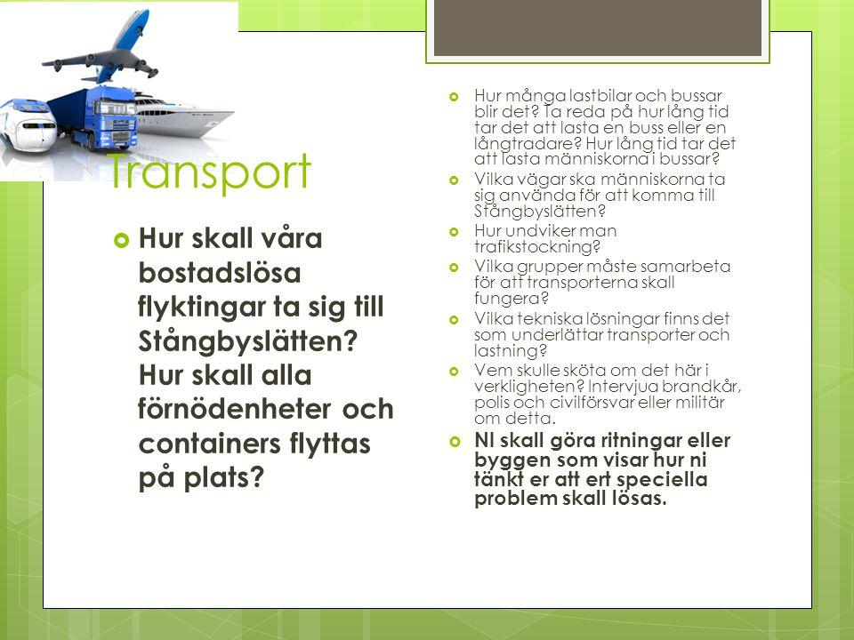  Hur skall våra bostadslösa flyktingar ta sig till Stångbyslätten? Hur skall alla förnödenheter och containers flyttas på plats?  Hur många lastbila