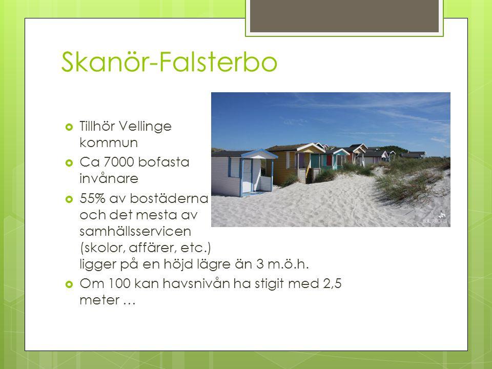 Skanör-Falsterbo  Tillhör Vellinge kommun  Ca 7000 bofasta invånare  55% av bostäderna och det mesta av samhällsservicen (skolor, affärer, etc.) ligger på en höjd lägre än 3 m.ö.h.