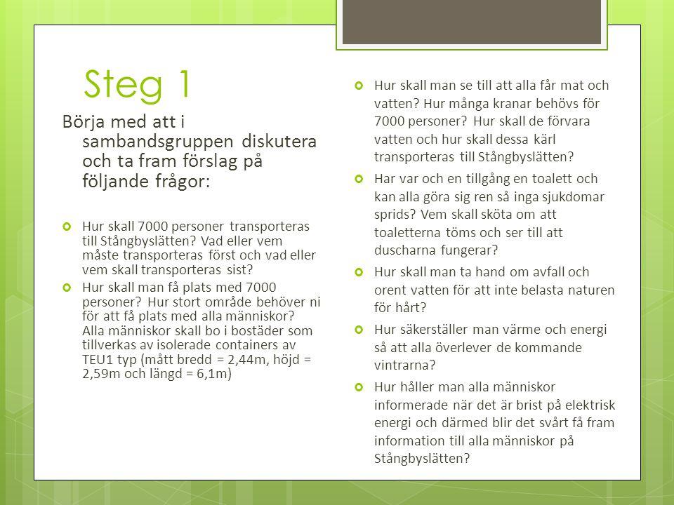 Steg 1 Börja med att i sambandsgruppen diskutera och ta fram förslag på följande frågor:  Hur skall 7000 personer transporteras till Stångbyslätten.
