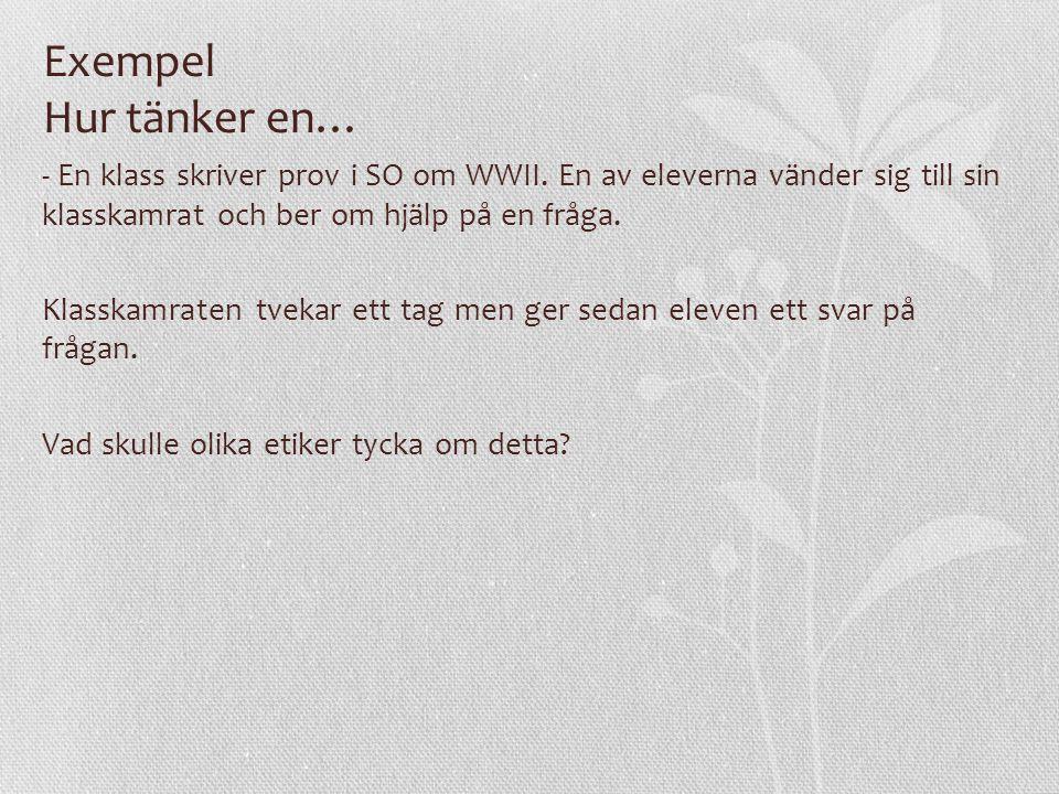 Exempel Hur tänker en… - En klass skriver prov i SO om WWII.