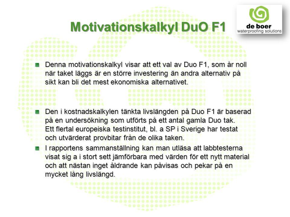 Motivationskalkyl DuO F1 Denna motivationskalkyl visar att ett val av Duo F1, som år noll när taket läggs är en större investering än andra alternativ