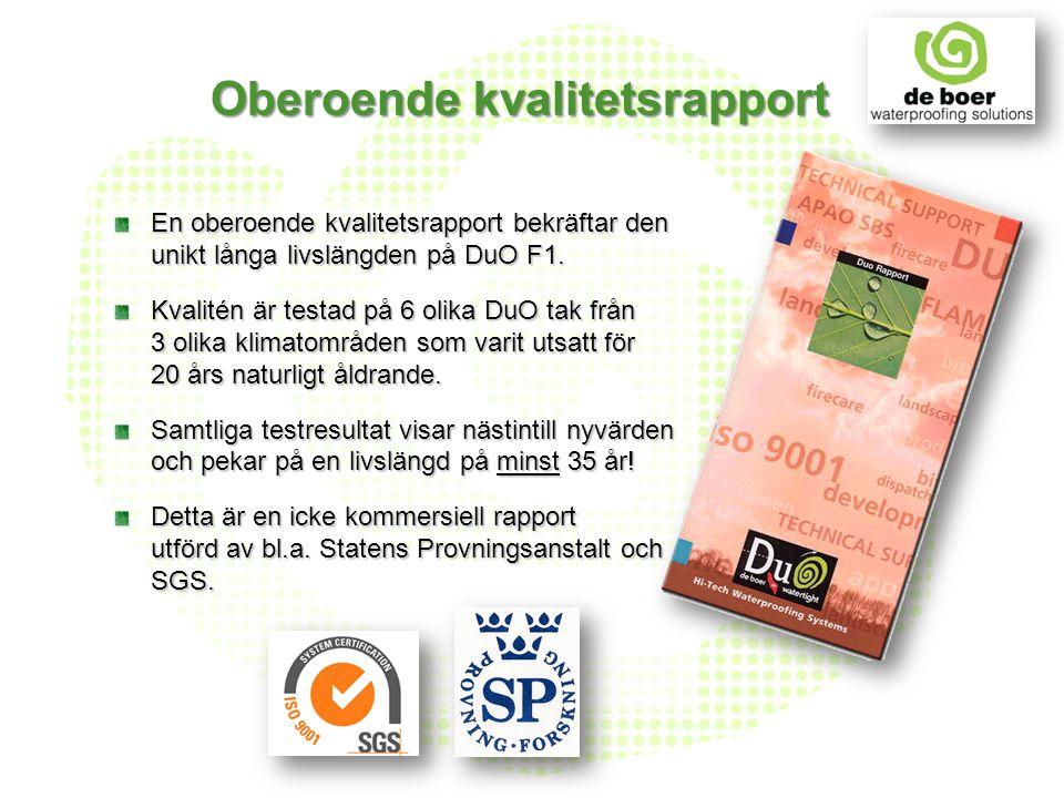 Oberoende kvalitetsrapport En oberoende kvalitetsrapport bekräftar den unikt långa livslängden på DuO F1. Kvalitén är testad på 6 olika DuO tak från 3