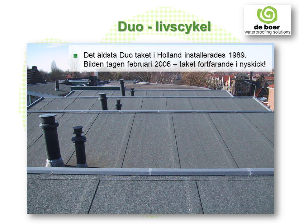 Det äldsta Duo taket i Holland installerades 1989. Bilden tagen februari 2006 – taket fortfarande i nyskick! Duo - livscykel