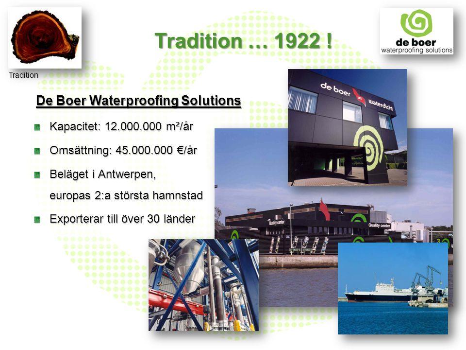 Kapacitet: 12.000.000 m²/år Omsättning: 45.000.000 €/år Beläget i Antwerpen, europas 2:a största hamnstad Exporterar till över 30 länder De Boer Water