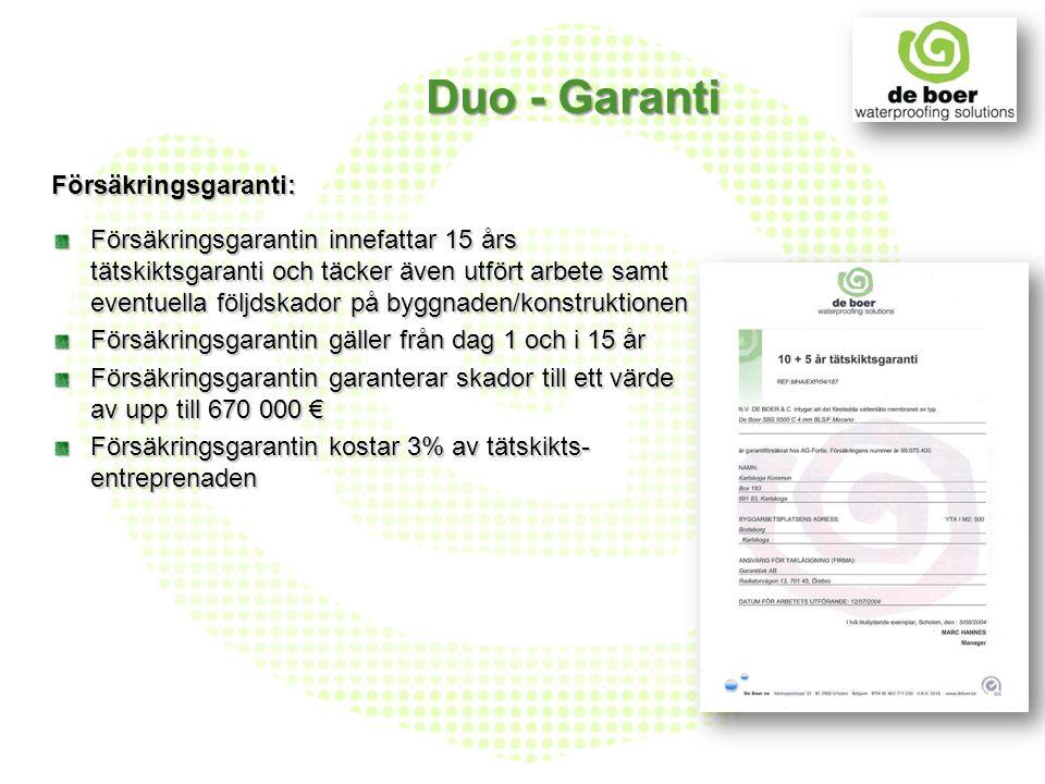 Duo – Garanti Garantin är försäkrad av Europas största försäkringsbolag, AG Fortis Garantin gäller även om entreprenören eller De Boer går i konkurs Premien för garantin är förbetald för hela garantitiden
