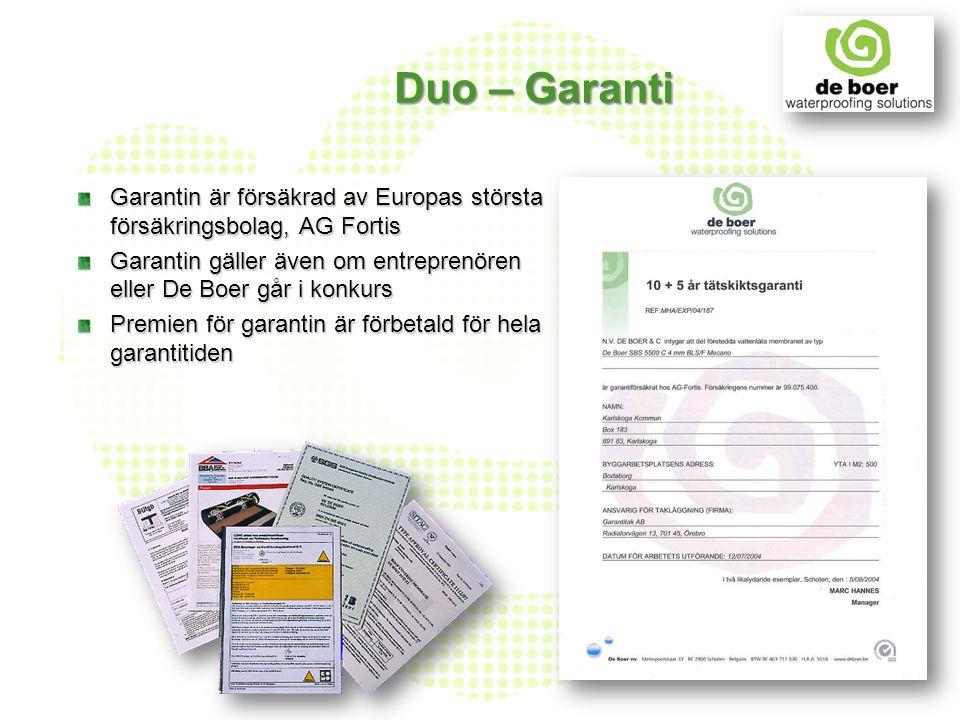 Duo – Garanti Garantin är försäkrad av Europas största försäkringsbolag, AG Fortis Garantin gäller även om entreprenören eller De Boer går i konkurs P